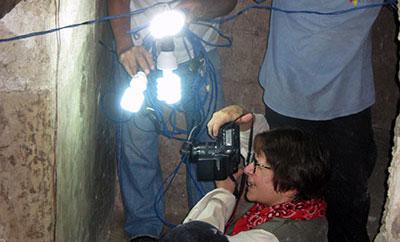shining a flashlight