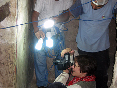 Documenting old archaeological tunnels at the Tikal archaeological site.