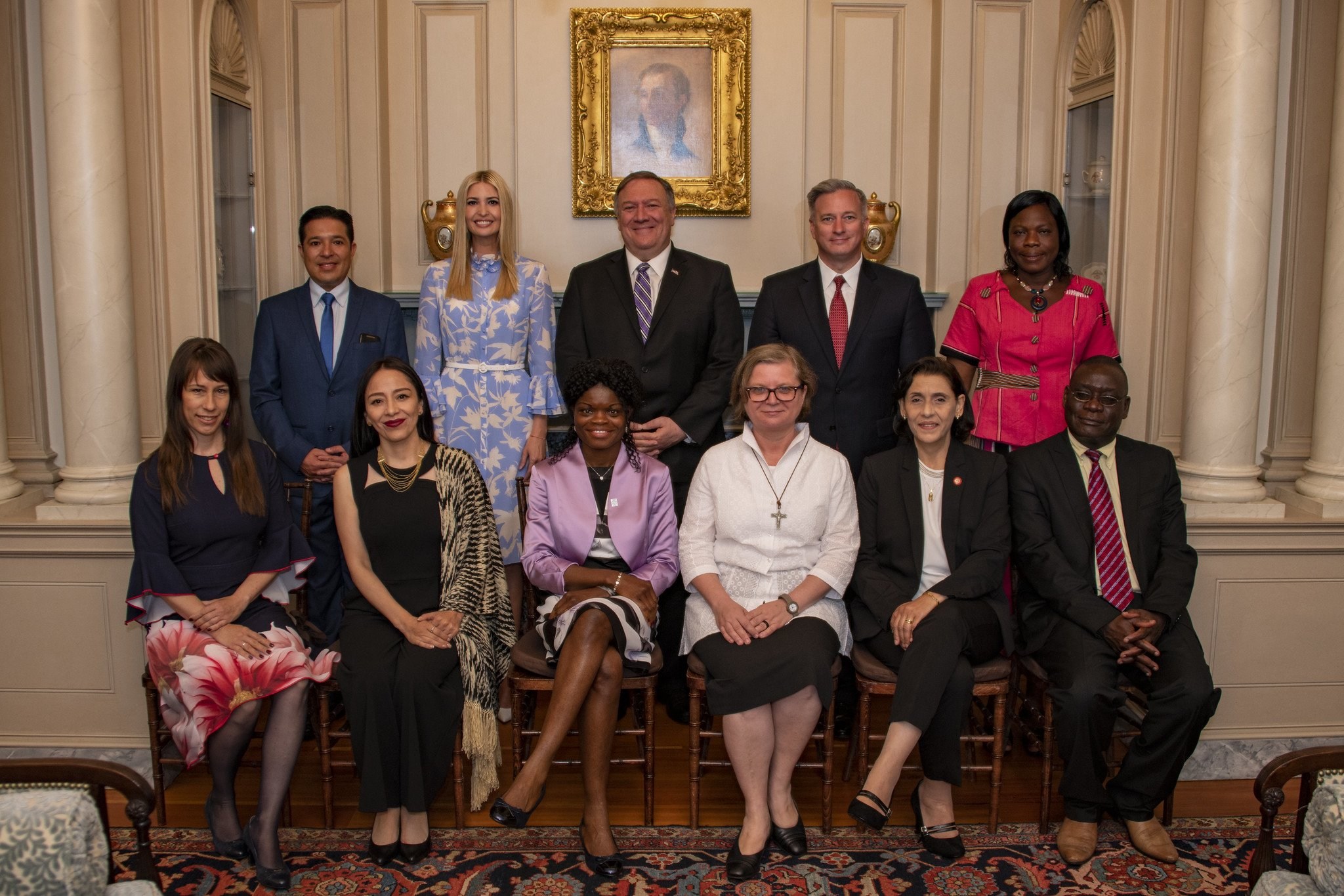 The eight TIP Report Heroes with Secretary of State Michael R. Pompeo, Advisor to the President Ivanka Trump, and Ambassador-at-Large to Monitor and Combat Trafficking in Persons John Cotton Richmond