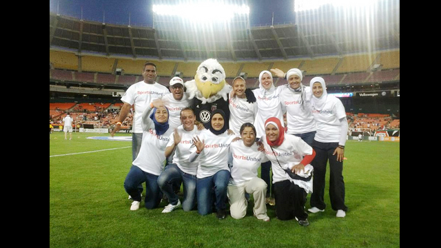 The Egyptian soccer coaches attend a DC United game.