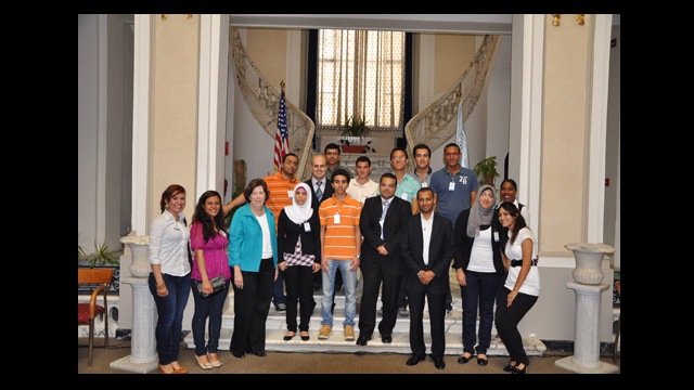 Ambassador Margaret Scobey with Egyptian Students at the American Center Alexandria