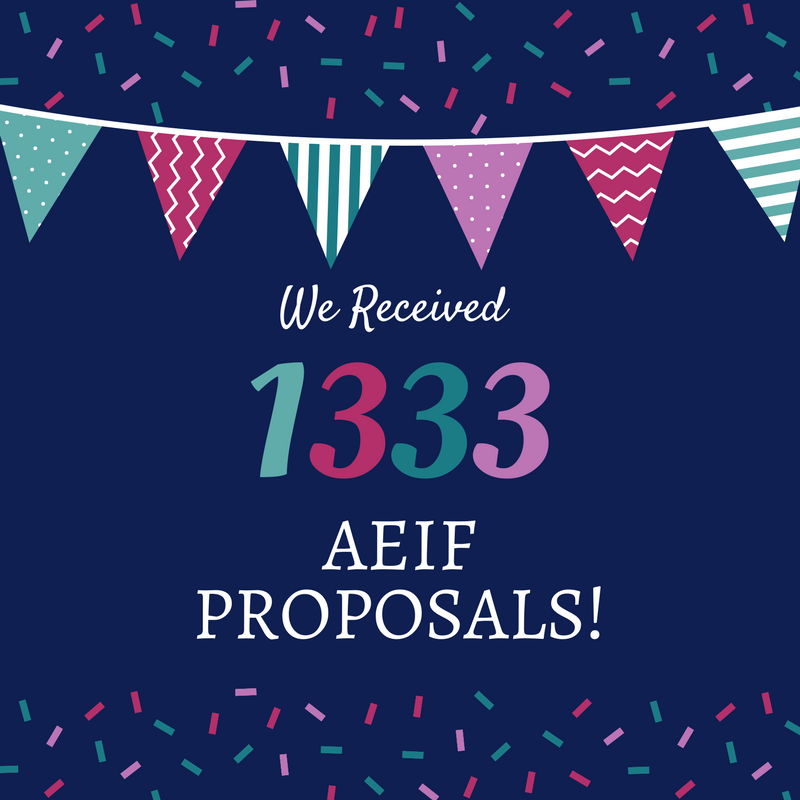 We Received 1333 AEIF Proposals