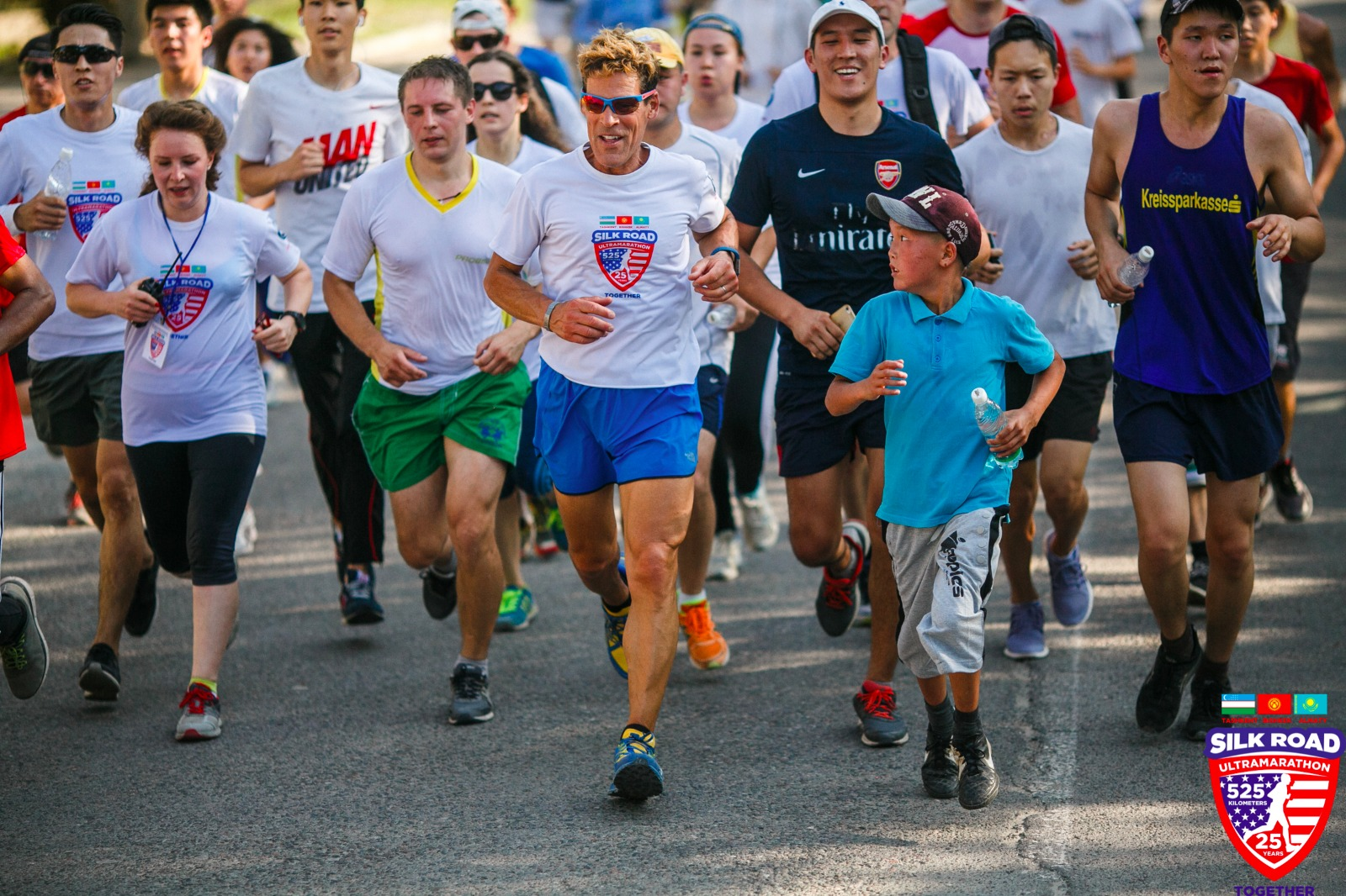 Dean running with a crowd