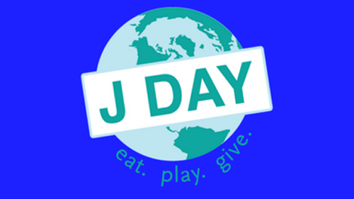 """Graphic of globe with """"J Day"""" written on top and """"eat.play.give."""" written at the bottom of the globe"""
