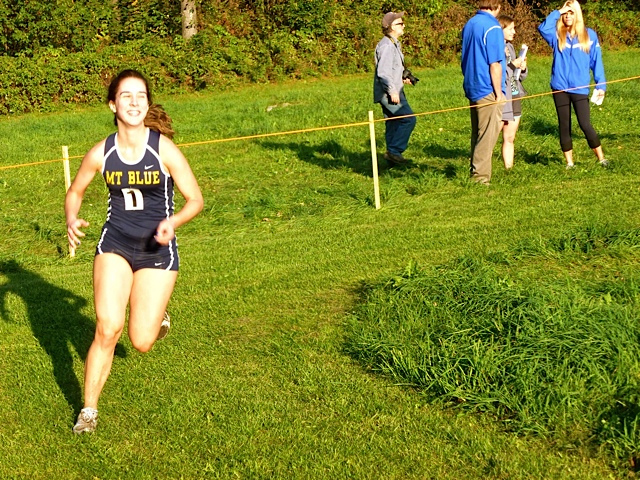 Mt. Blue High School cross country relay race. Sonja running to the finish line.
