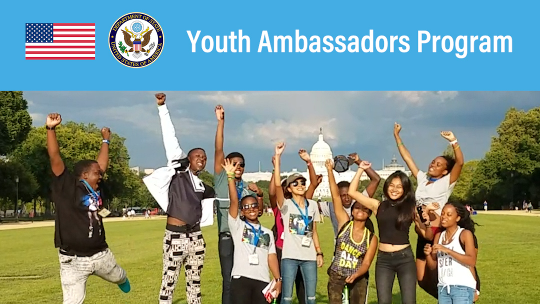 Group of young folks happy jumping up around wiht the words Youth Ambassador Program at the top
