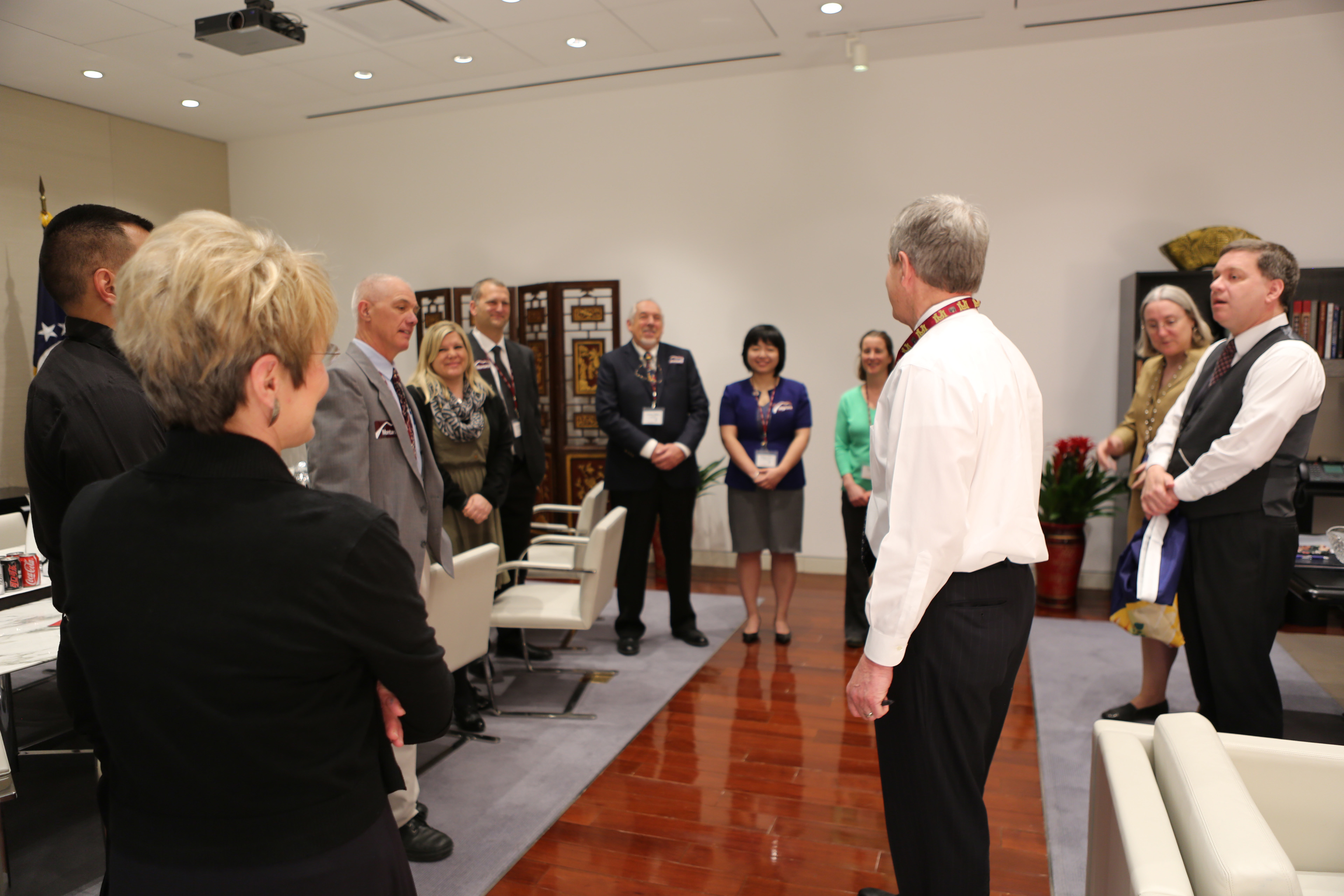 U.S. Ambassador to China Max Baucus meets with the University of Montana group at the U.S. Embassy in Beijing.
