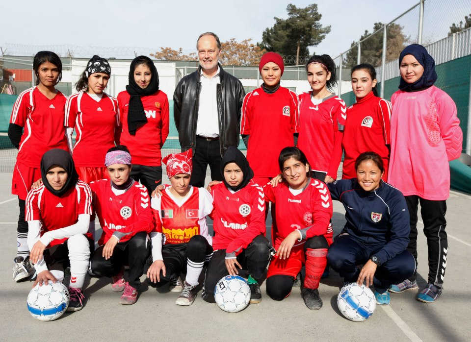 Afghan Women's National Soccer Team with Sports Envoy Lorrie Fair after a special clinic at the U.S. Embassy Kabul.