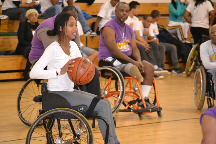 The Brazilian youth basketball players experience their first time playing wheelchair basketball.