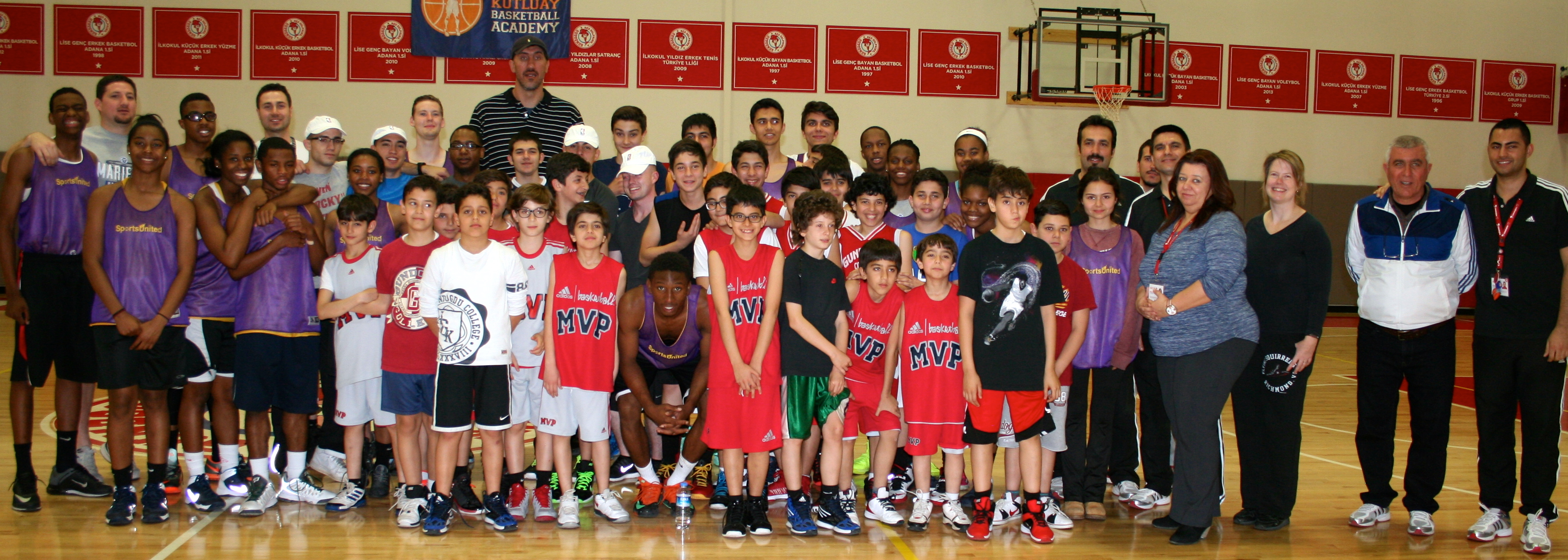 American and Turkish participants at the Gundogdu College in Adana share a photo opportunity after practices and clinics