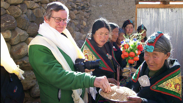 Former Ambassador Powell in Upper Mustang, Nepal: In 2009, Ambassador Nancy Powell visited the U.S.-supported project to preserve historic chortens in Upper Mustang.