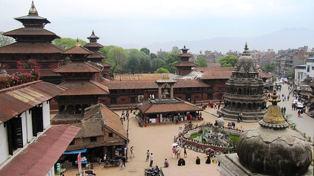 Patan Royal Palace, Lalitpur, Nepal: The Patan Royal Palace, shown here under restoration, is an important historic site and popular tourist destination.