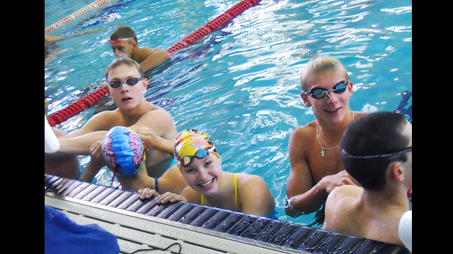 During breaks, the young athletes have an opportunity to socialize.