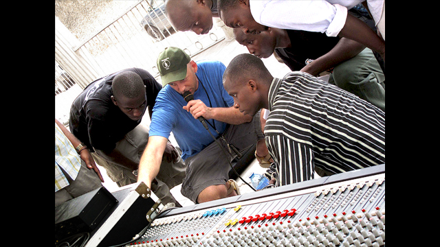 Peter Tidemann trains sound technicians in Tanzania.