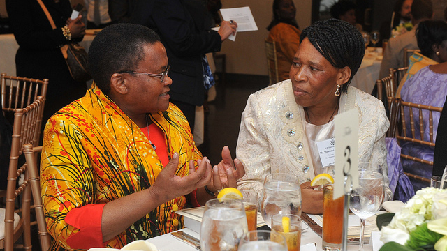 The First Lady of Lesotho, Mrs. Mathato Mosisili (L), and Mantsitsi Gladys Mona, from Lesotho's National Training and Development Institute (TADI) (R) at RAND African First Ladies Initiative, September 23, 2011, in New York