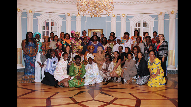 The AWEP 2012 group of 47 women from sub-Saharan Africa met with Former Secretary Clinton as part of the AGOA Forum on Africa's growth.