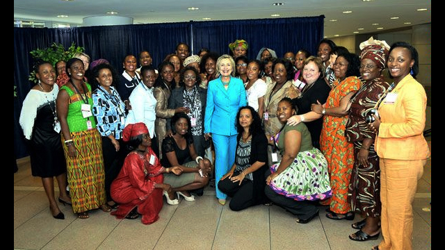 2010 African Women's Entrepreneurship Program (AWEP) women pose with Secretary of State Hillary Clinton.