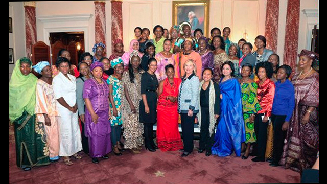 Former Secretary Clinton and participants in the 2011 African Women's Entrepreneurship Program, at the Department of State.