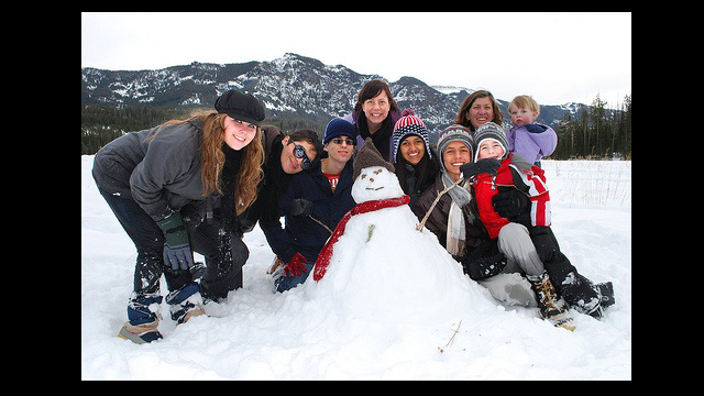 Youth Ambassadors play in the snow in Bozeman, Montana.