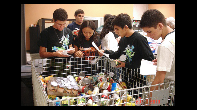 Youth Ambassadors volunteering for the Community Food Bank of Eastern Oklahoma.