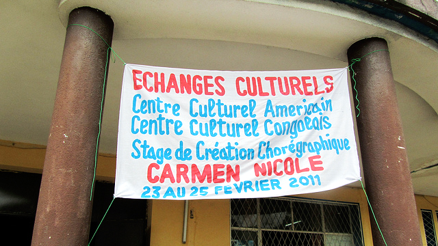 Local artists painted a sign at the Cultural Center where we held some rehearsals.