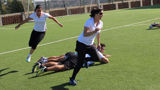 The participants work on speed and coordination.