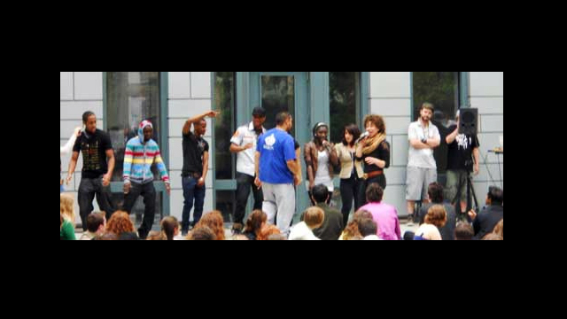 Berlin Day, American students at the U.S. Embassy performing a rap song about their year-long experiences in Germany.