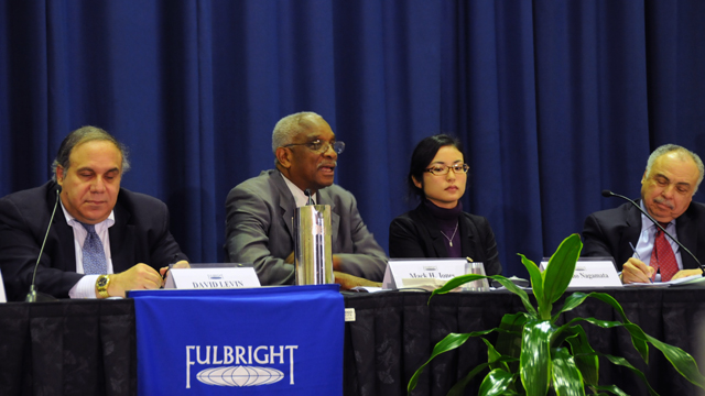 Day two of the FSB Board meeting- a panel discussion on Diversity in the Fulbright Program: Challenge And Opportunity. From left to right: panelists David Levin, Senior Program Manager, Bureau of Educational and Cultural Affairs, U.S. Department of State;