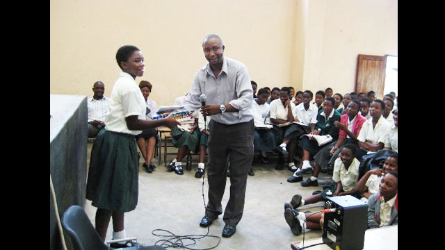 Adviser Martin Kanjadza with students in Malawi.