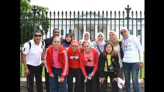 The Egyptian coaches pose together at the White House.