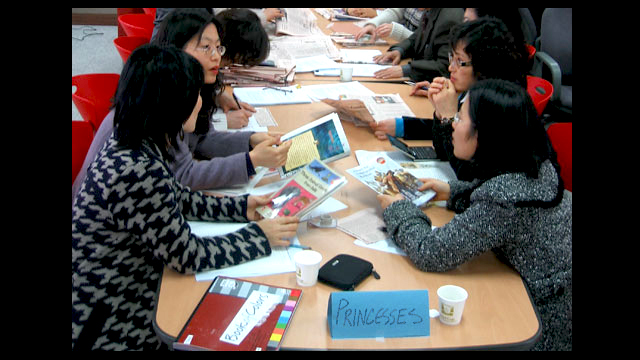 Secondary school teachers in Korea during a group work exercise facilitated by an English Language Specialist.