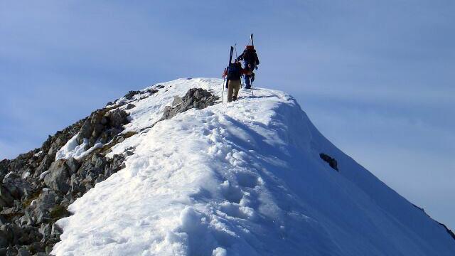 Ilina Arsova, Global Sports Mentoring Program Alumna, trains on snowy mountain peaks.