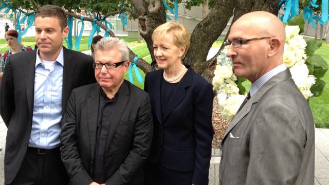 9/11 Memorial Foundation President Joseph Daniels, architect of the new World Trade Center complex Daniel Libeskind, Assistant Secretary Ann Stock, and FFSB Chairman Tom Healy (left to right) pause for a moment of reflection after placing a wreath.