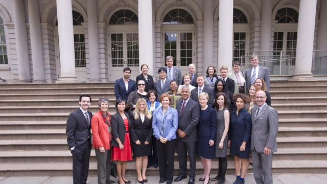 A group of Fulbrighters join the Board, Assistant Secretary Ann Stock, and Speaker of the New York City Council Christine Quinn on the steps of New York's City Hall.