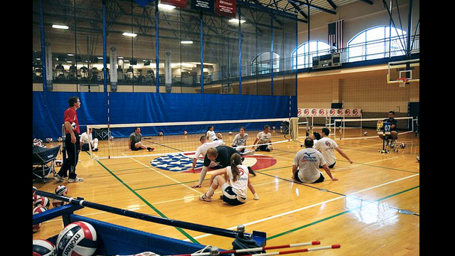 The Kazakh group watches U.S. Men's and Women's national sitting volleyball team members train at the University of Central Oklahoma