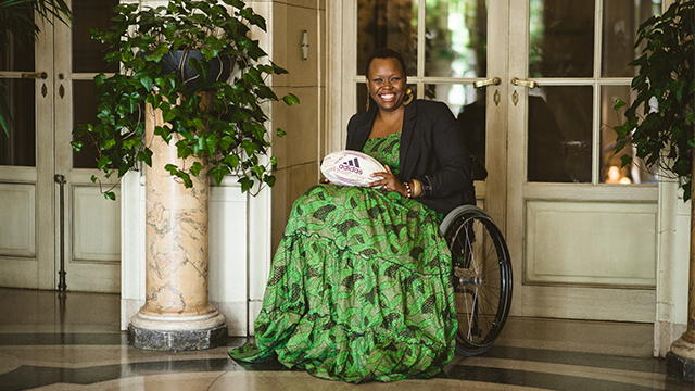 "Mombasa, Kenya native Lizzie Kiama's most recent project, ""Women and Wheels,"" promotes inclusion and the integration of women with varying degrees of mobility through friendly wheelchair rugby competitions."