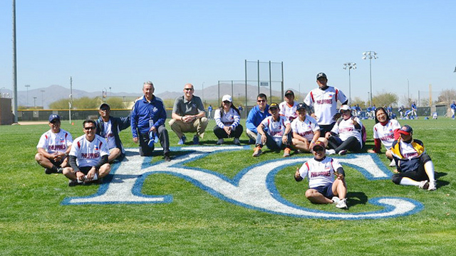 The group visit the spring training grounds of the Kansas City Royals.