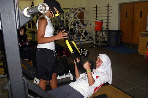 At Hampton University in Hampton, Virginia, the girls learn exercises to build strength.