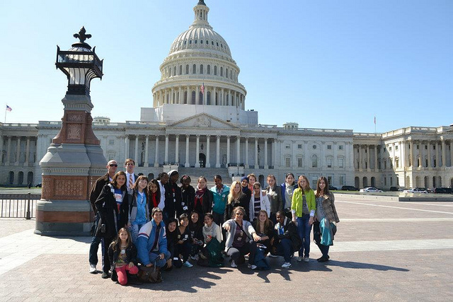 "The delegation poses outside of the Capitol Building after a ""behind the scenes"" tour."
