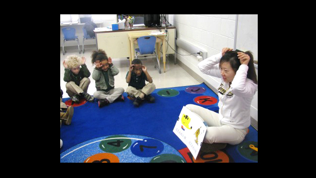Cui Jiangwei teaches Chinese at Brent Elementary School in Washington D.C.