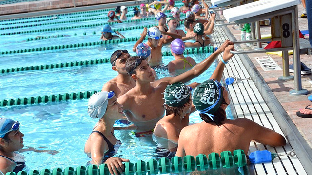 Tunisian swimmers prepare for a practice.