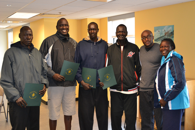 The South Sudanese coaches meet with representatives of D.C. Parks and Recreation to discuss sports infrastructure development.