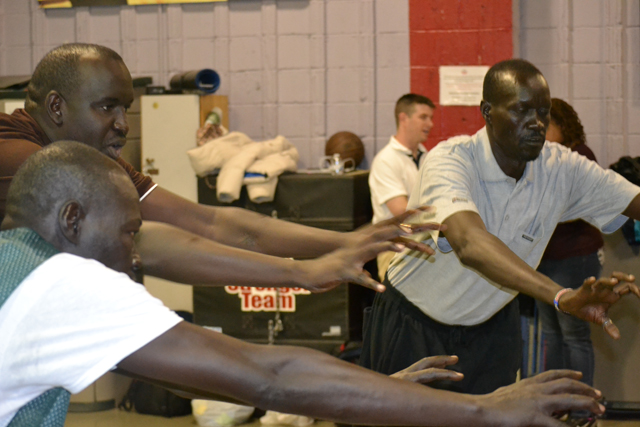 The group from South Sudan participates in a teambuilding and strength conditioning session.