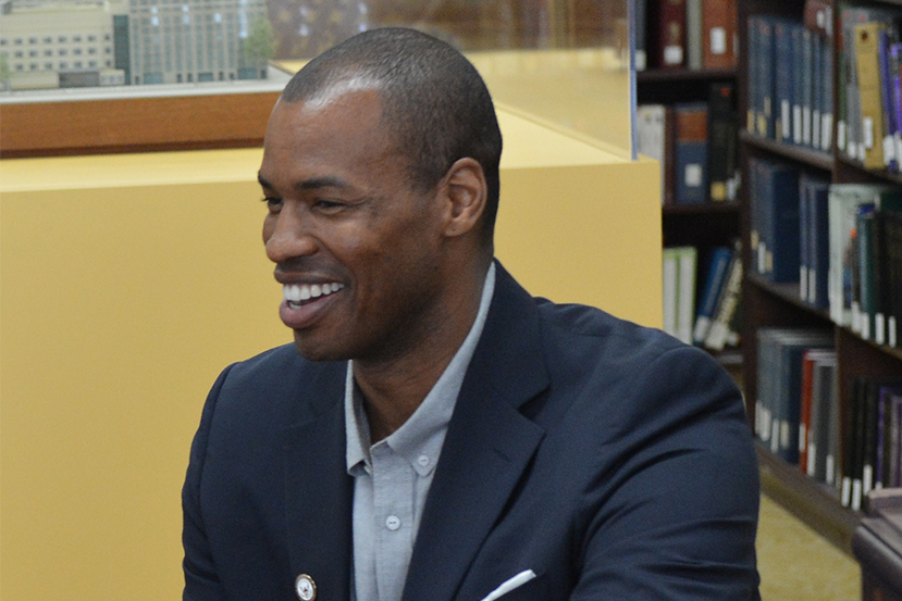 """Jason Collins visits the State Department as a special guest to speak on inclusion, diversity, and remaining """"authentic to oneself."""""""