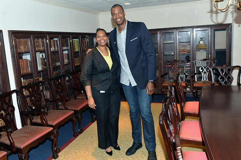 Jason Collins with a representative of the Office of Civil Rights.