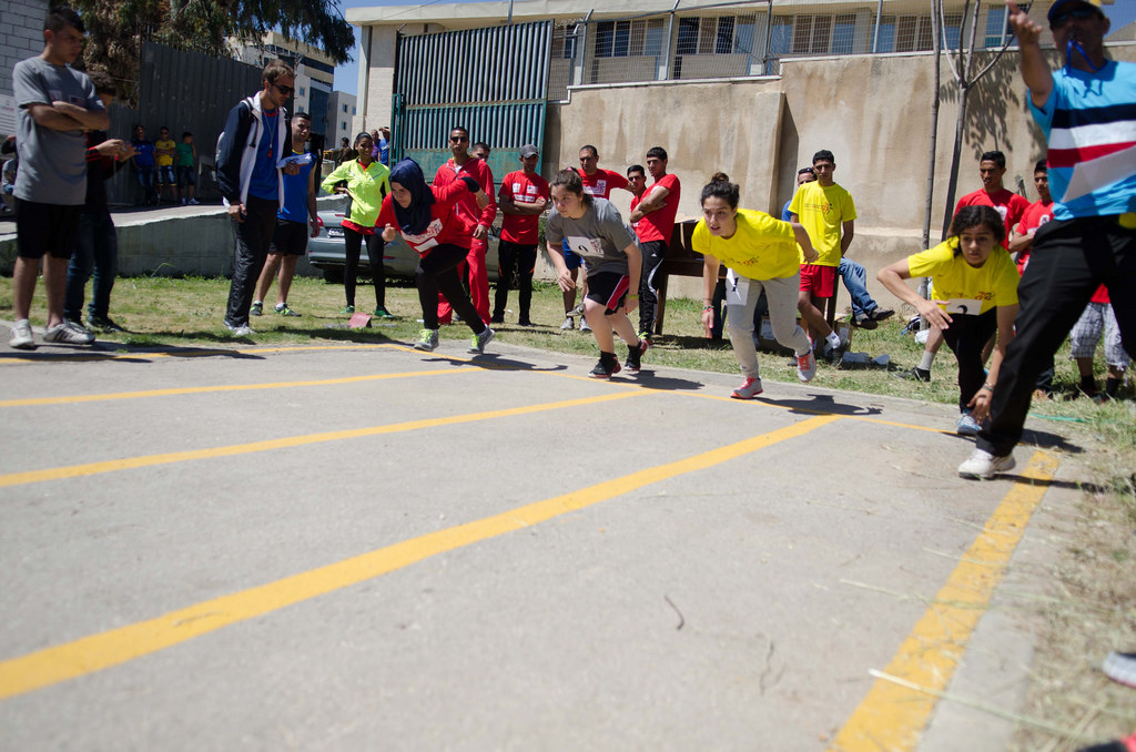 On your marks, get set, go! These girls put their footwork to the test at the inaugural 5K race in the West Bank