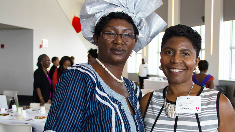 Sandi Webster, Owner and Principal of Consultants 2 Go, meets Mariama KABA of Guinea at the program opening in NYC.