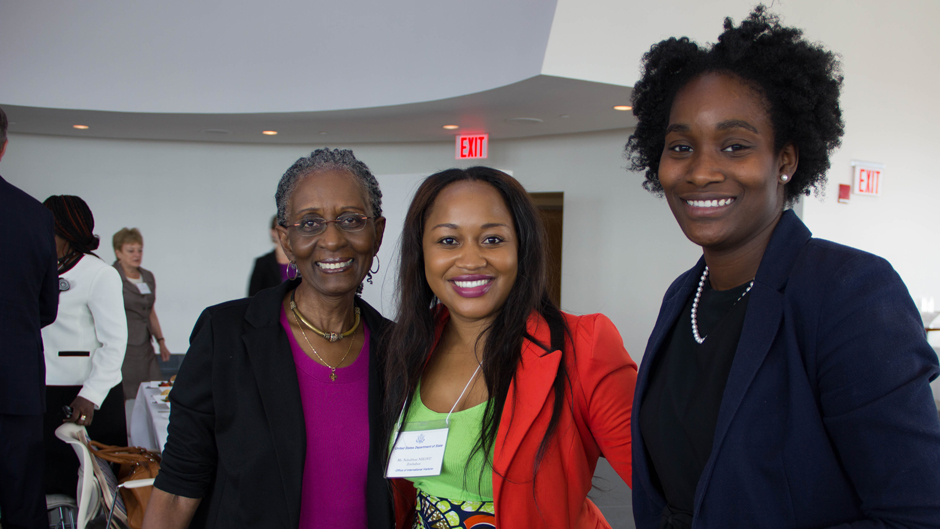 Nobukhosi NDLOVU of Zimbabwe (center) is happy to start the AWEP 2014 program.