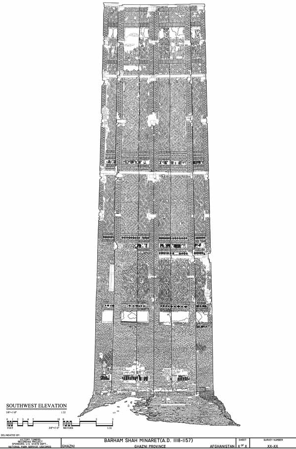 Architectural drawing of Bahram Shah minaret/tower, southwest elevation