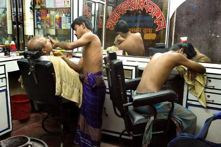 Getting a haircut in Old Dhaka.